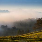 Lever de soleil et brouillard