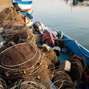Petit port de pêche dans le delta de l'Axos