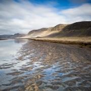Rare plage de sable blanc en Islande
