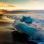 Reste d'icebergs sur la plage, Jökulsárlón