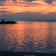 Coucher de soleilsur le lac de Issyk-Koul