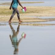 Traversée du lagon à marée basse