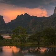 Coucher de soleil dans la région de Hpa An