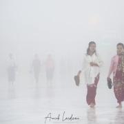 Brouillard sur l'esplanade du Rocher d'or