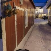 """Maisons dans le village de Mefjorvaer à l'""""heure bleue"""""""