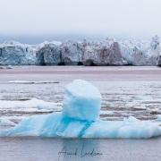 Iceberg devant la calotte glaciaire de l'ile du Nord-est: la couleur de la mer est dûe à la présence de terre rouge vêlée par la calotte