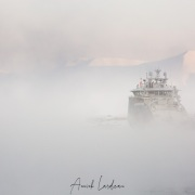 Bateau dans la brume: port de Longyearbyen