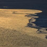 Banquise et mer au couchant