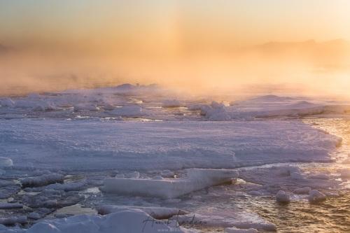 Lever de soleil sur la banquise dérivante à +/- 79°50 Nord