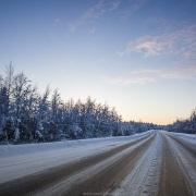 La route en fin de journée