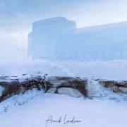 Hôtel de glace: terrasse et bancs recouverts de peaux de rennes